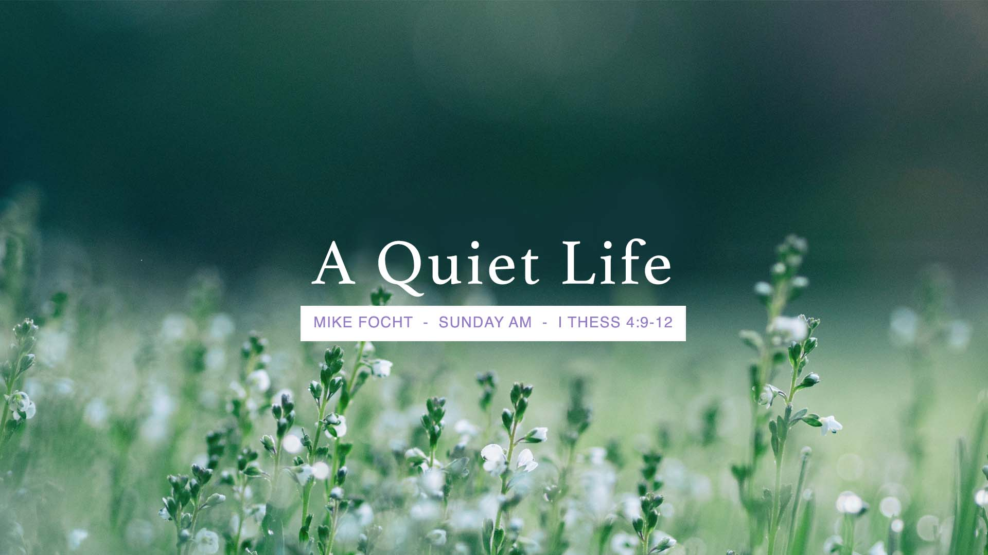 A Quiet Life - 1 Thessalonians 4:9-12